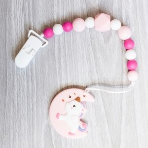 Pink Silicone Pacifier Clip with Teether